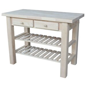 Rathbone Kitchen Island with Butcher Block Top by Loon Peak