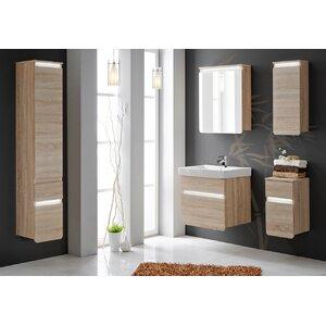 Belfry Bathroom 57 cm Wandmontierter Waschtisch Stella mit Spiegel, Armatur und Schränken