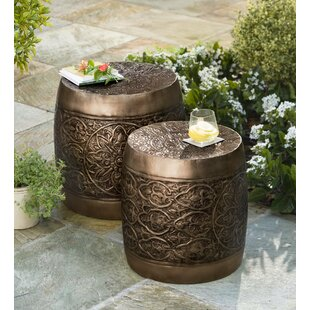 Nesting Embossed Barrel Metal 2 Piece Side Table Set