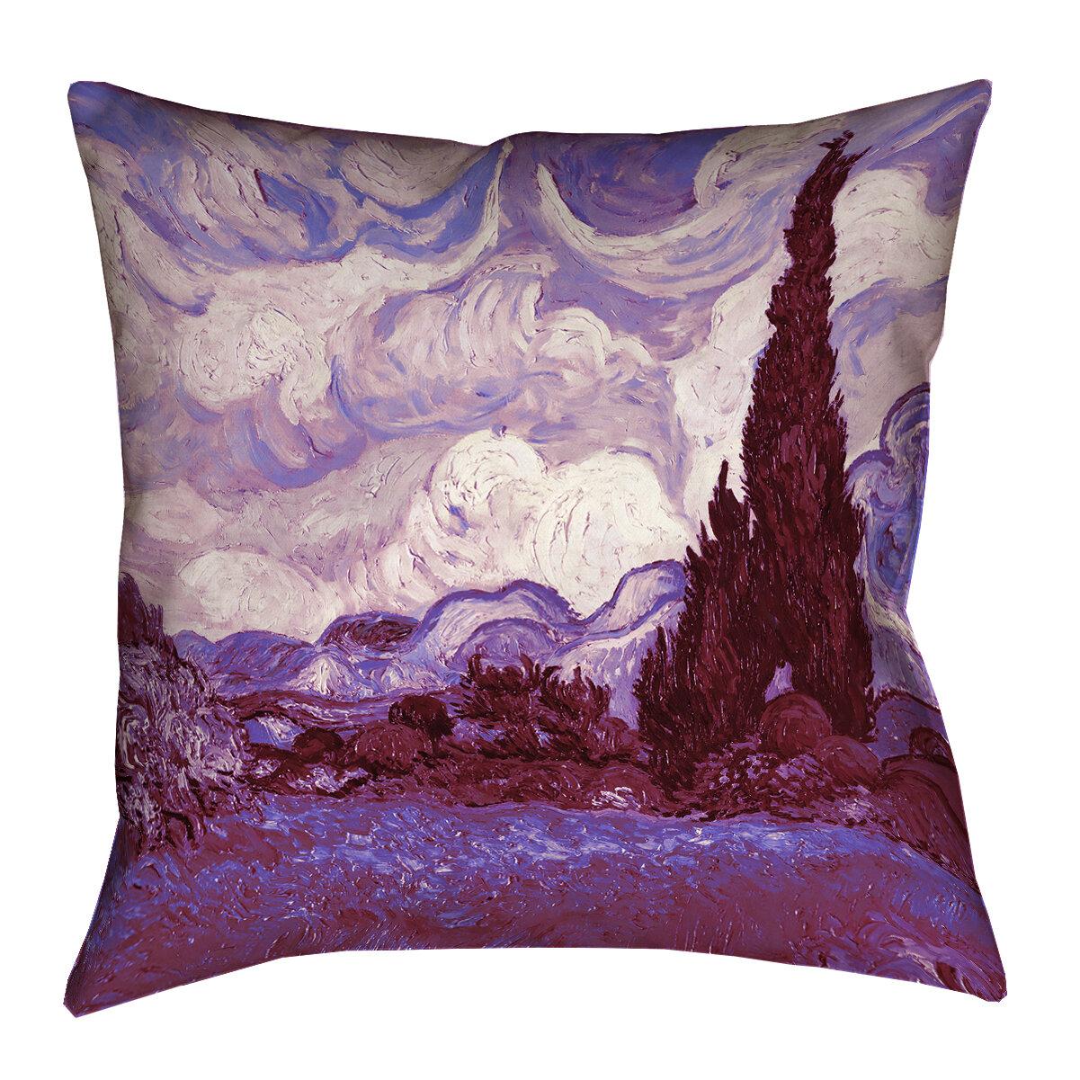 Red Barrel Studio Kinsey Mauve Wheatfield With Cypresses Linen Lumbar Pillow Wayfair