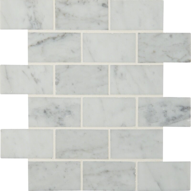 MSI Carrara Polished 2 x 4 Marble Mosaic Tile in White Reviews