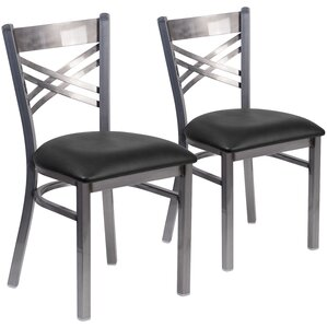 Socorro 2 Pieces Coated ''X'' Back Metal Restaurant Side Chair (Set of 2) by Zipcode Design