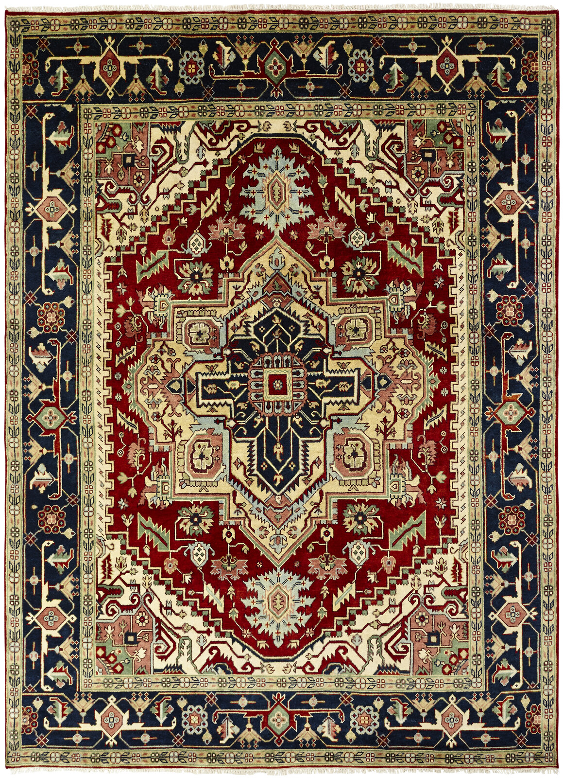 Astoria Grand Martina Oriental Hand Knotted Wool Navy Blue Red Area Rug Wayfair