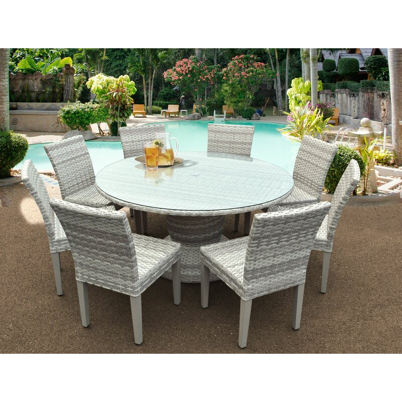 9 piece outdoor dining set rattan cube garden furniture ansonia piece outdoor dining set rosecliff heights reviews wayfair