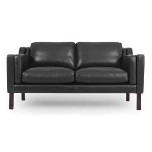 Rolando Mid-Century Leather Loveseat