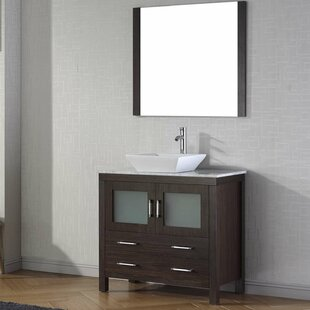 Affordable Stanardsville 36 Single Bathroom Vanity Set with White Marble Top and Mirror By Brayden Studio