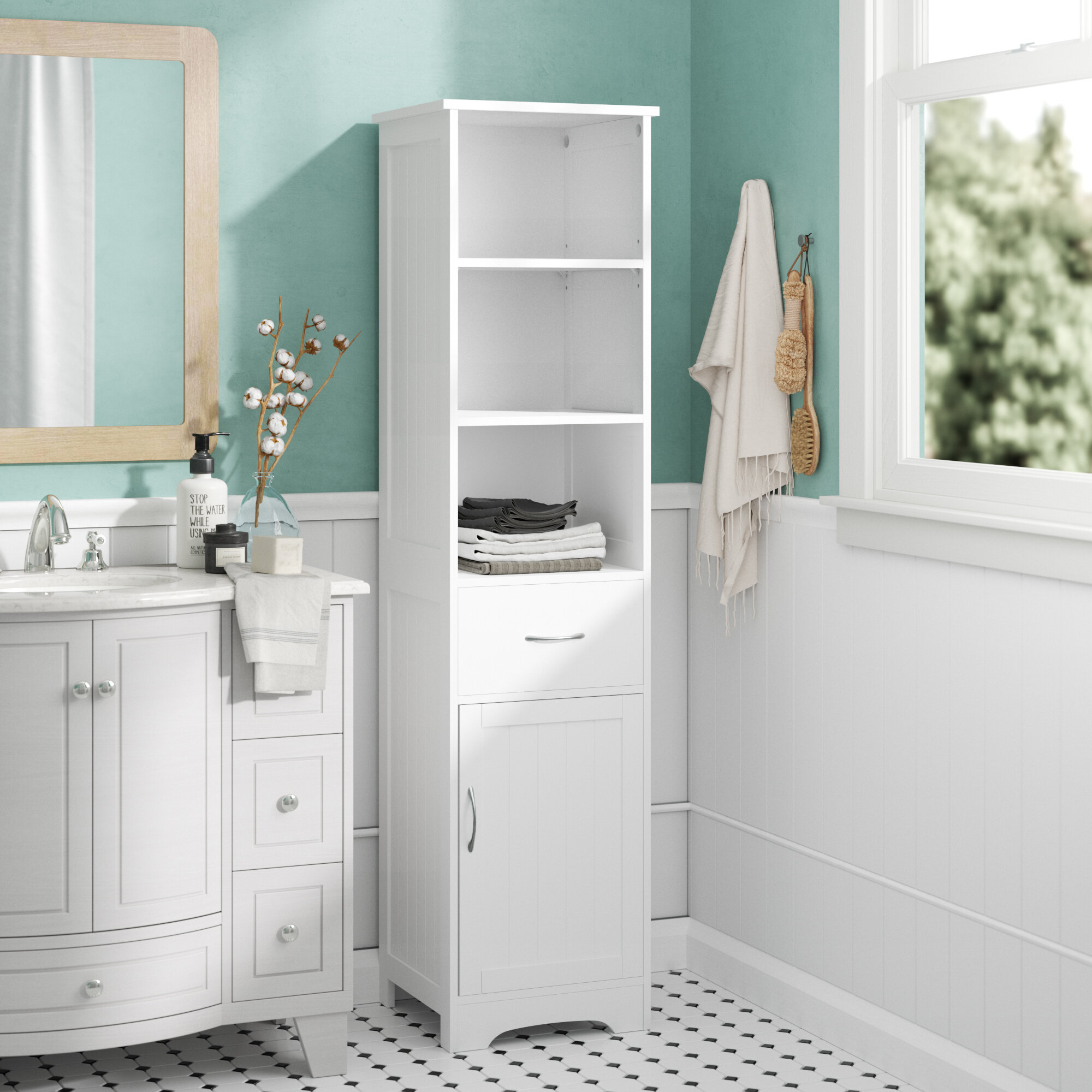 Symple Stuff 40 X 160cm Free Standing Tall Bathroom Cabinet Reviews Wayfair Co Uk