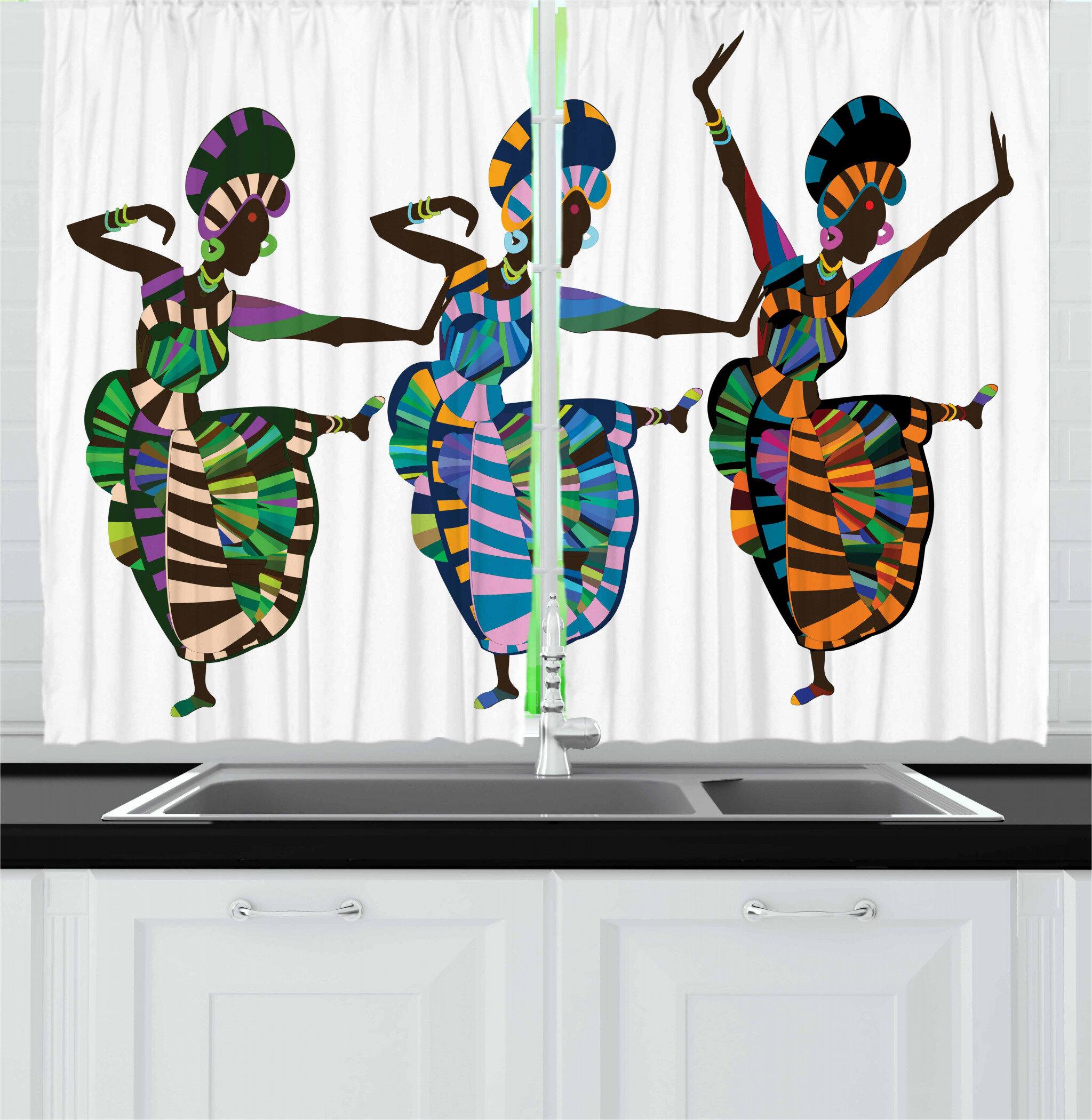 East Urban Home African 55 Kitchen Curtain Wayfair
