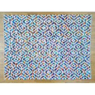 Best Choices One-of-a-Kind Gagliano Handmade Kilim 8'10 x 12' Wool Blue/White Area Rug By Isabelline