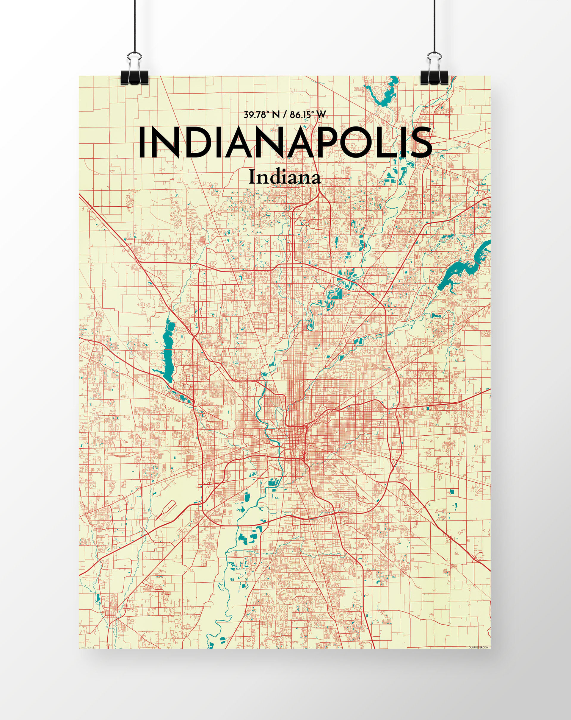 Wrought Studio 'Indianapolis City Map' Graphic Art Print Poster in on