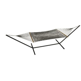 Mindi Solid Polyester Hammock with Stand