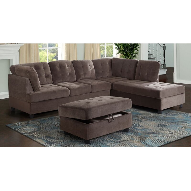 """Abhimanyu 112"""" Sectional with Ottoman"""