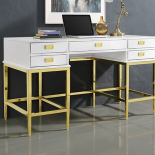 Buy luxury Gilbery Stainless Steel and Antique Glass Five Drawer Writing Desk By Everly Quinn