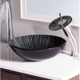 Novatto Godere Glass Circular Vessel Bathroom Sink