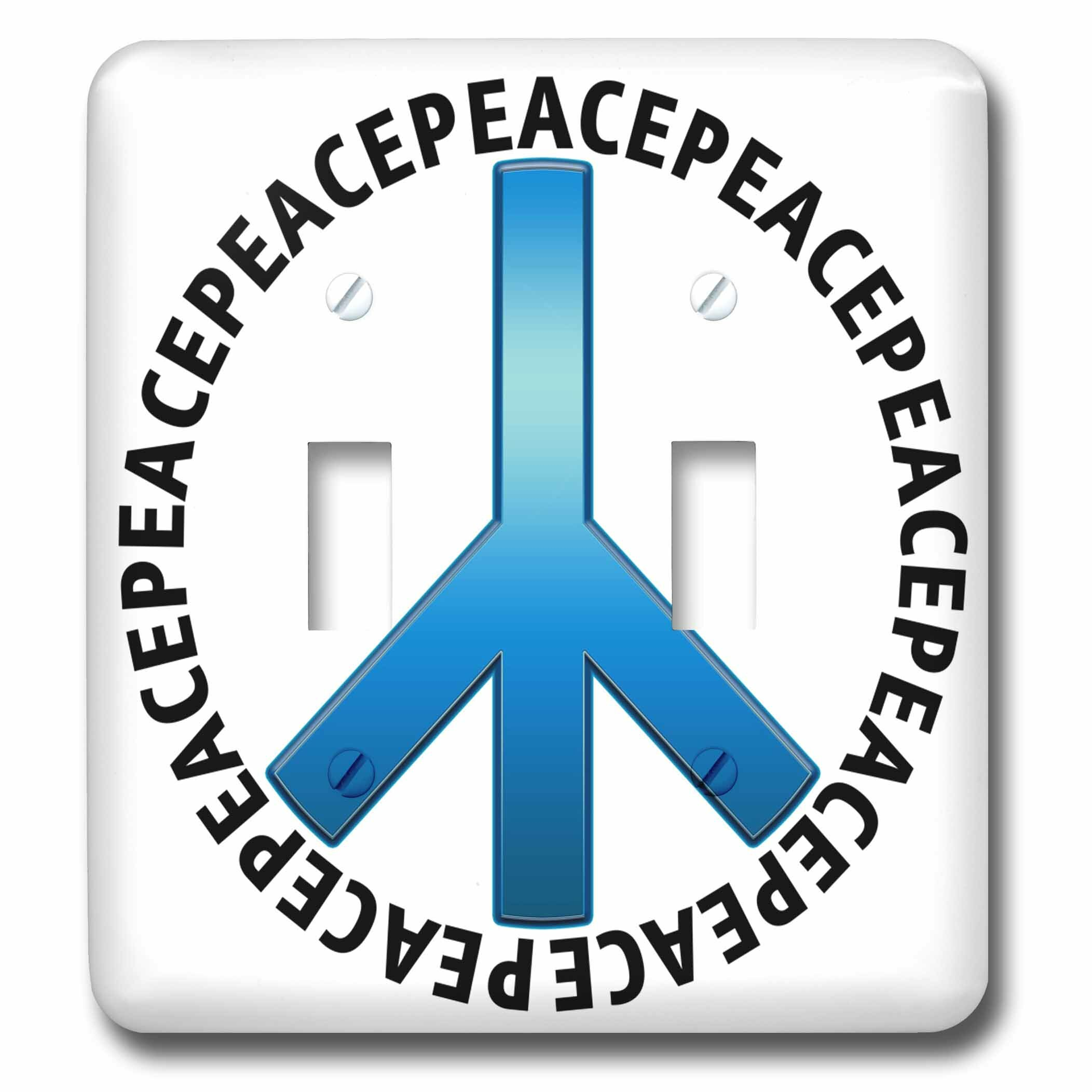 3drose Peace Sign 1 Shows A Peace Sign With Peace Text Repeating As An Outer Circle 2 Gang Toggle Light Switch Wall Plate Wayfair
