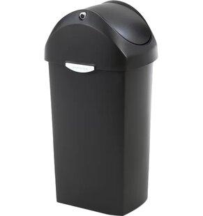 simplehuman 16 Gallon Swing Lid Trash Can, Plastic