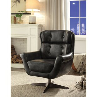 Aurora Metal Base Faux Leather Upholstered Swivel Armchair