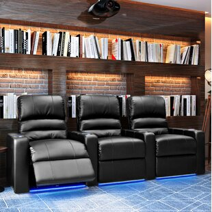 Blue LED Home Theater Row Seating (Row of 3) by Latitude Run