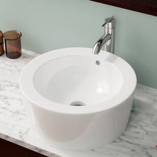 Compare Vitreous China Circular Vessel Bathroom Sink with Overflow By MR Direct