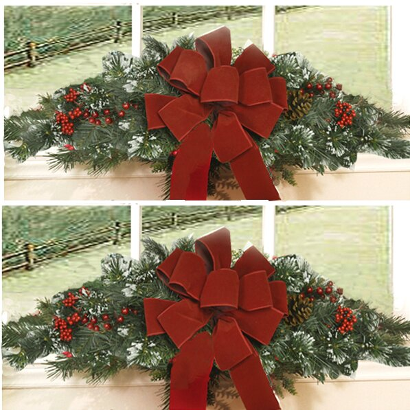 christmas window sill swag wayfair - Window Sill Christmas Decorations