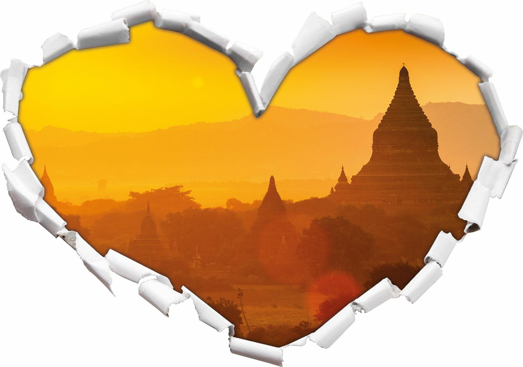 3D-Look Papier Wandtattoo Aufkleber-Sticker Buddha Tempel im Sonnenuntergang