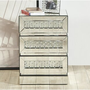 Check Prices Laskowski Crystal 3 Drawer Nightstand By Rosdorf Park