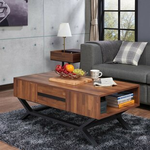 Boggess Contemporary Rectangular Wooden Coffee Table with Storage by Foundry Select