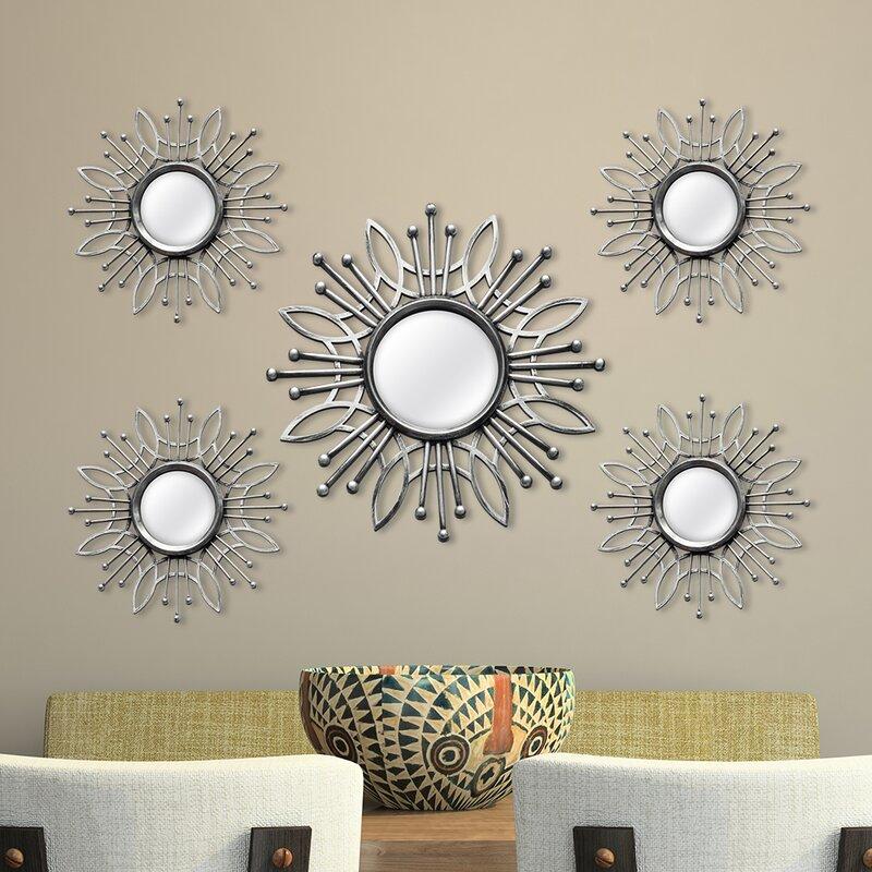 Wall Mirror Set stratton home decor 5 piece burst wall mirror set & reviews | wayfair