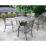 Pruden 5 Piece Dining Set with Sunbrella Cushions