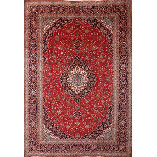 One-of-a-Kind Mcgahey Kashan Medallion Persian Vintage Hand-Knotted 9'8 x 13'11 Wool Blue/Burgundy Area Rug Isabelline