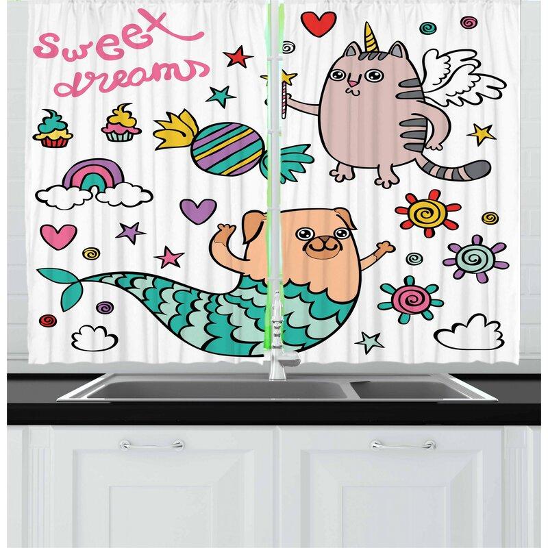 East Urban Home 2 Piece Unicorn Cat Kitchen Curtain Wayfair