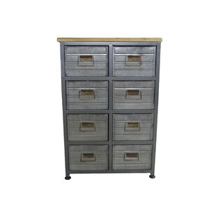 Riendeau Aged Metal and Wood 8 Drawers Accent Chest by Williston Forge