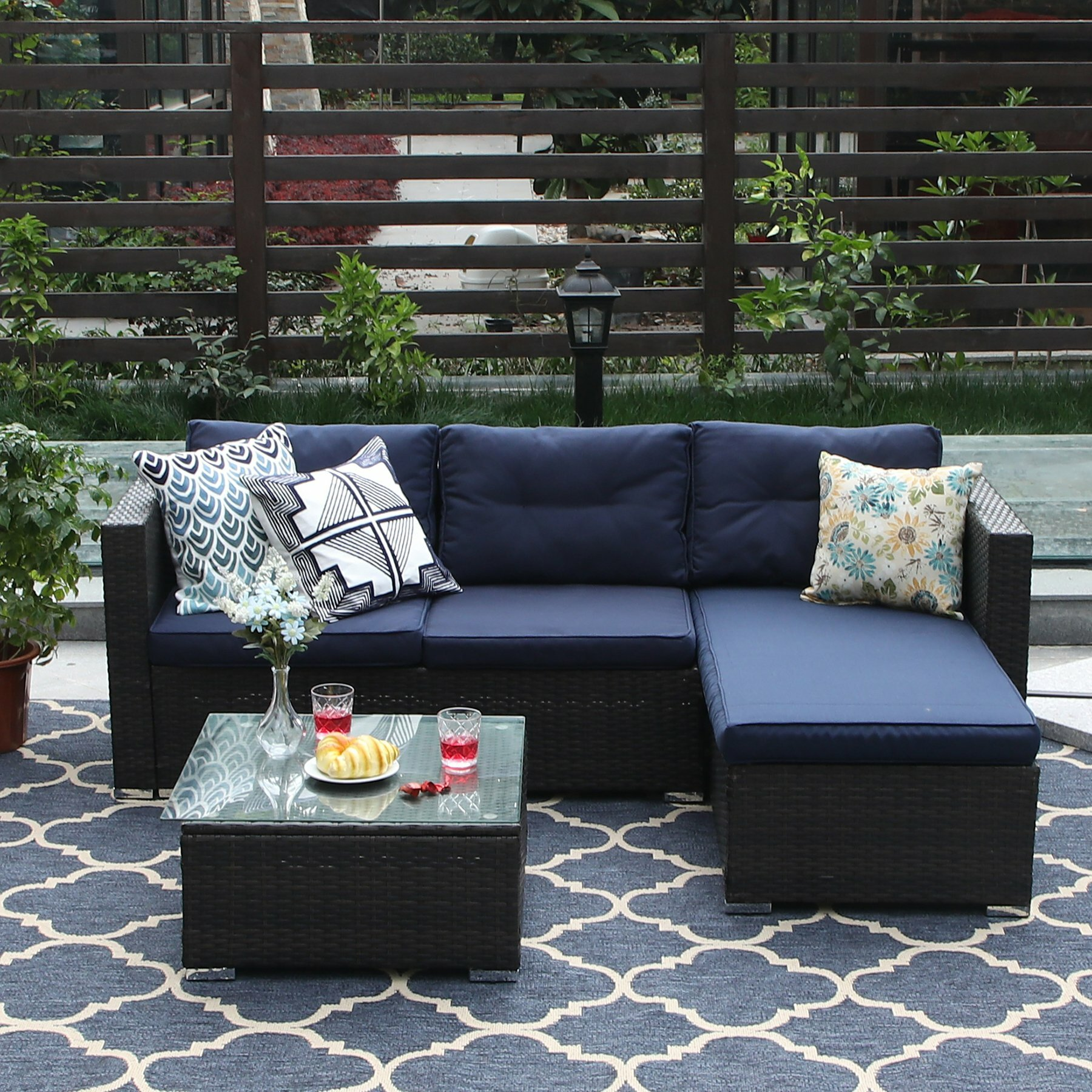Steward Outdoor 3 Piece Rattan Sectional Sofa Set with Cushions