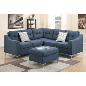 Izzie Linen-like Polyfabric Sectional with Ottoman by Mercer41