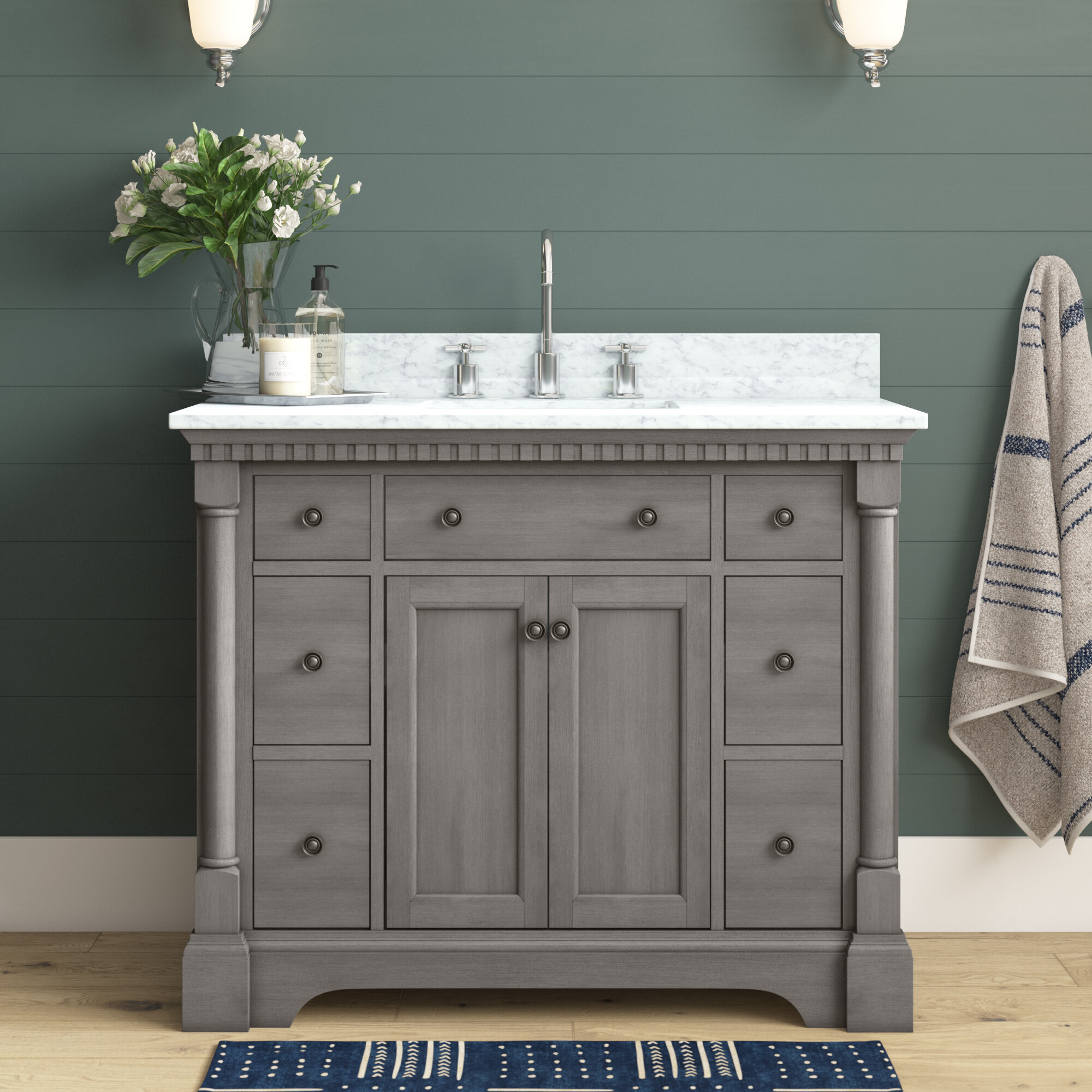 42 Inch Gray Wood Bathroom Vanities You Ll Love In 2021 Wayfair