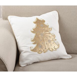 Picea Metallic Christmas Tree Holiday Throw Pillow