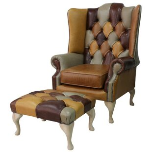 Chesterfield Prince's Patchwork Old English Leather Wing Chair + Footstool By Winchester Leather Ltd