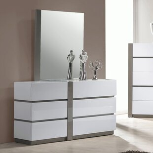 Chintaly Imports Manila 6 Drawer Double Dresser with Mirror