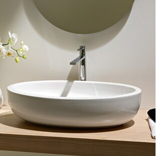 Scarabeo by Nameeks Planet Ceramic Oval Vessel Bathroom Sink with Overflow