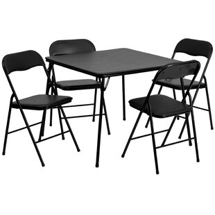 Affordable 5 Piece 33.5 Square Folding Table Set By Flash Furniture