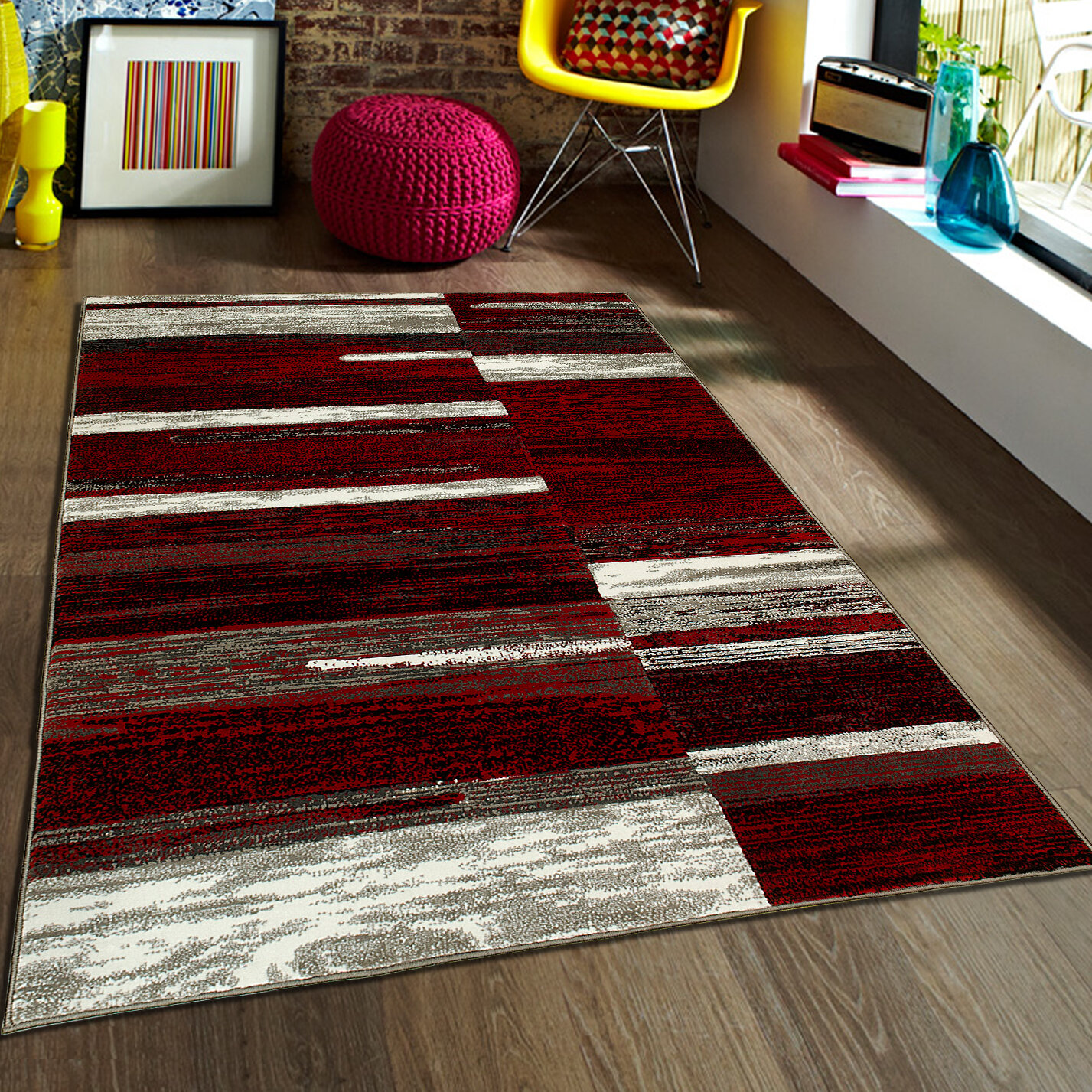 Allstar Rugs Abstract Red Area Rug Reviews Wayfair