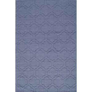 Hand-Hooked Denim Blue Area Rug