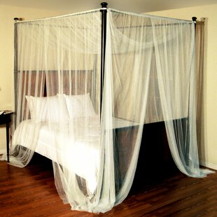 Harrelson 4-Post Bed Sheer Panel Canopy Net & Ivory u0026 Cream Bed Canopies Youu0027ll Love | Wayfair