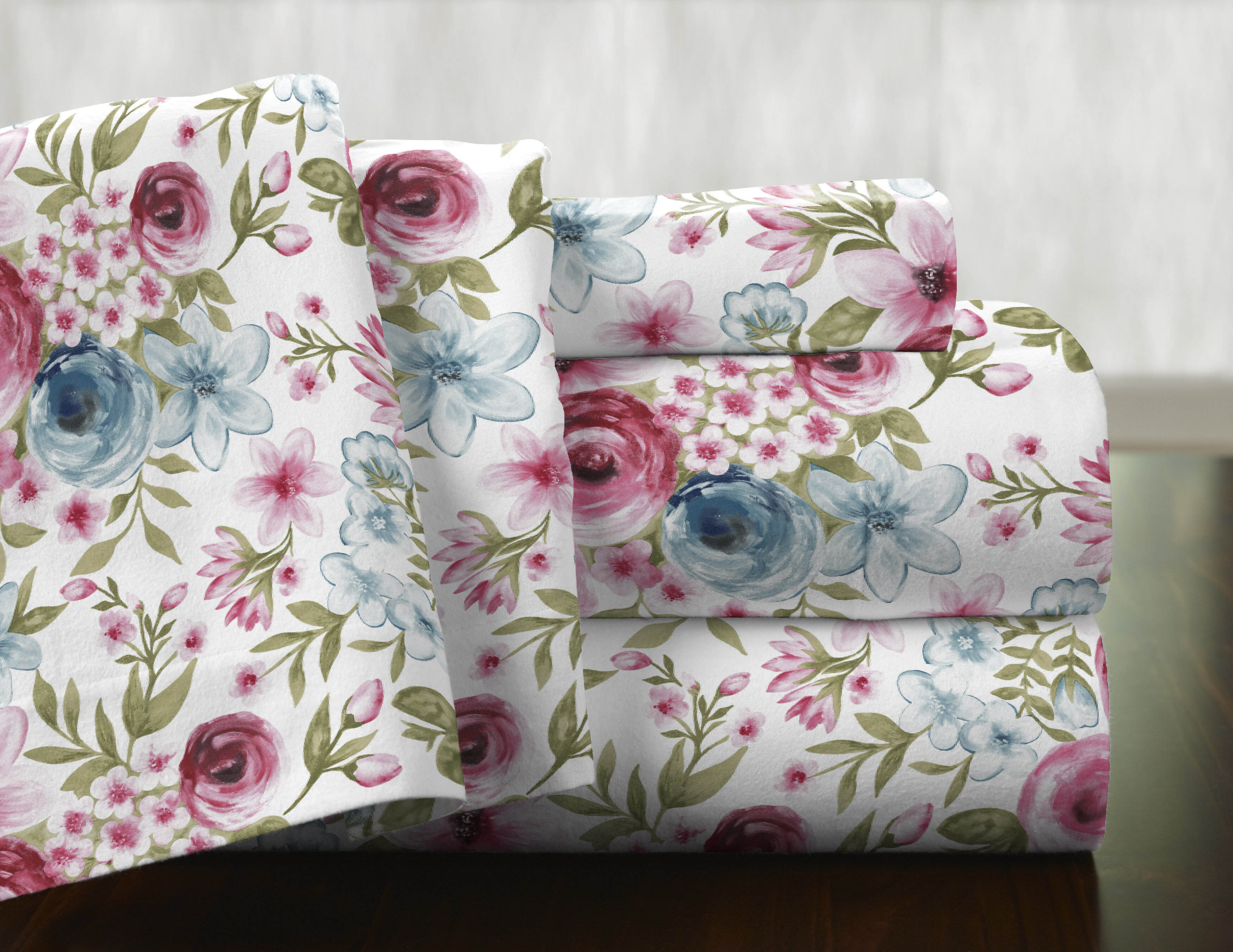 August Grove Penitas Floral Flower 100 Cotton Flannel Sheet Set Reviews