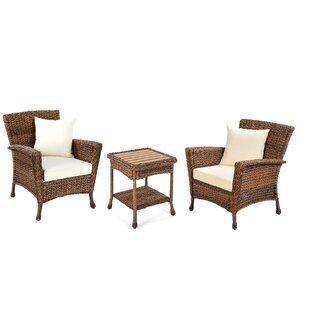 Ophelia & Co. Stephnie 3 Piece Rattan Conversation Set with Cushions