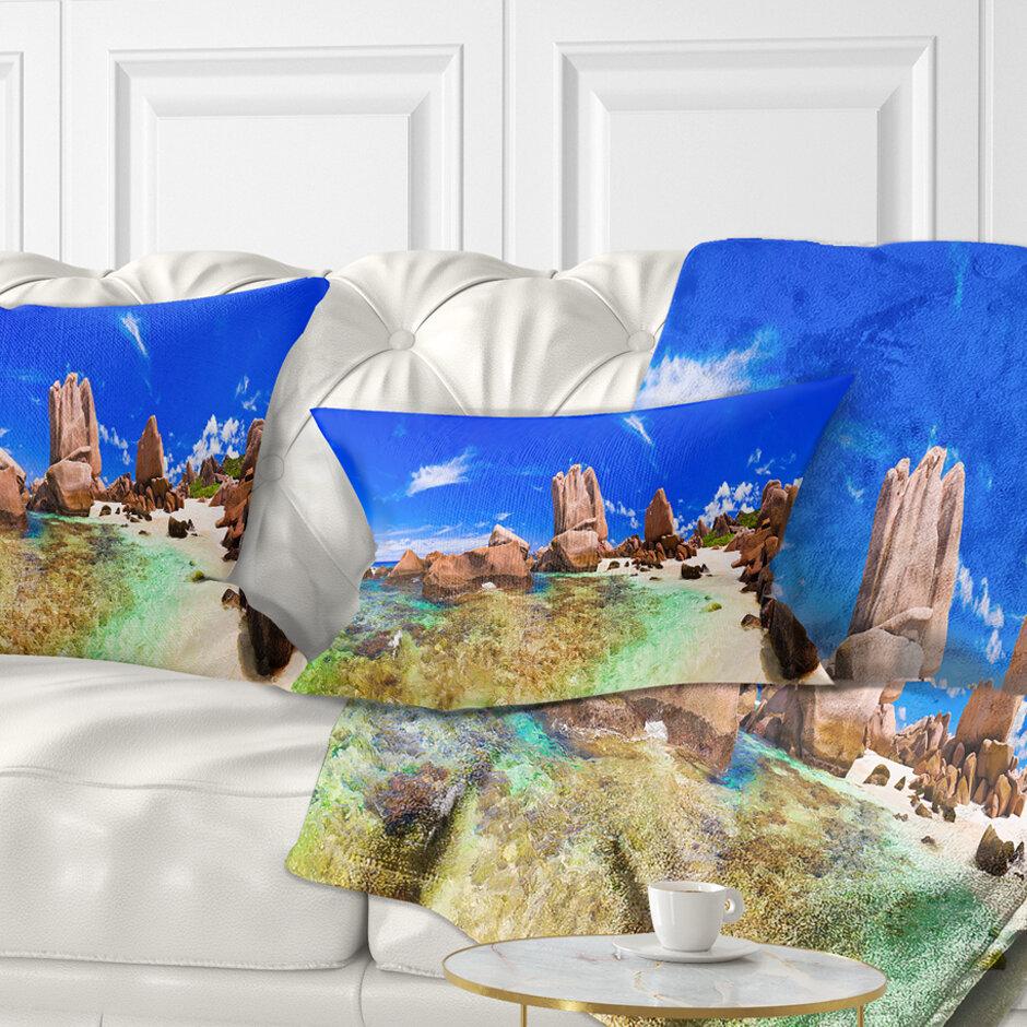 East Urban Home Landscape Photography Bright Tropical Beach Panorama Lumbar Pillow Wayfair
