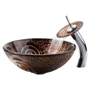 Kraus Copper Glass Circular Vessel Bathroom Sink with Faucet and Overflow