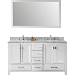 melba 60 double bathroom vanity set with carrara white top and mirror