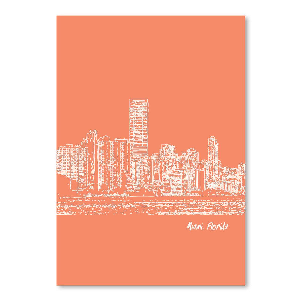East Urban Home Skyline Miami 8 Graphic Art In Orange Wayfair