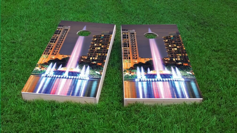 Cornhole Bag Toss Orlando State Flag Skyline Cornhole Board Set
